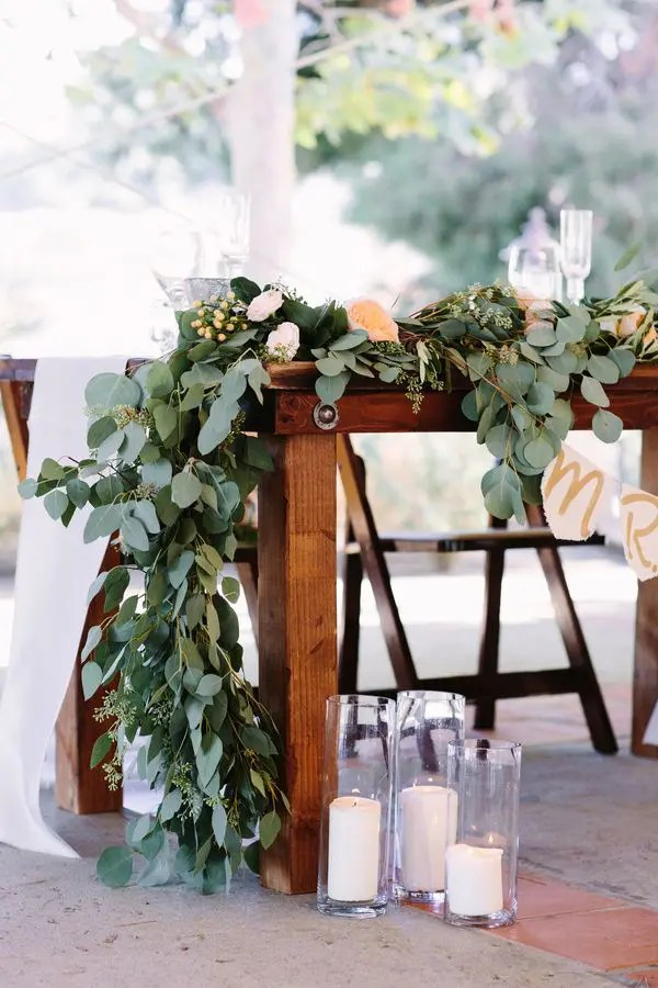 Picture Of A Eucalyptus Table Runner With Peachy Blooms