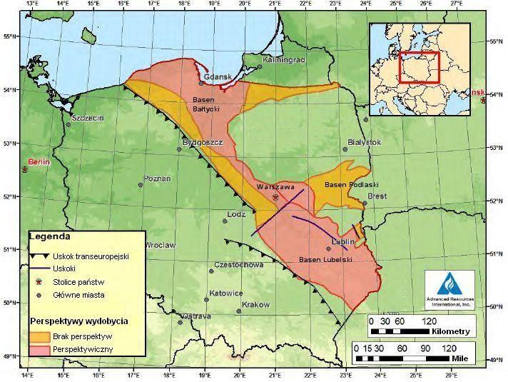 Tereny bogate w gaz łupkowy w Polsce (fot. EIA)