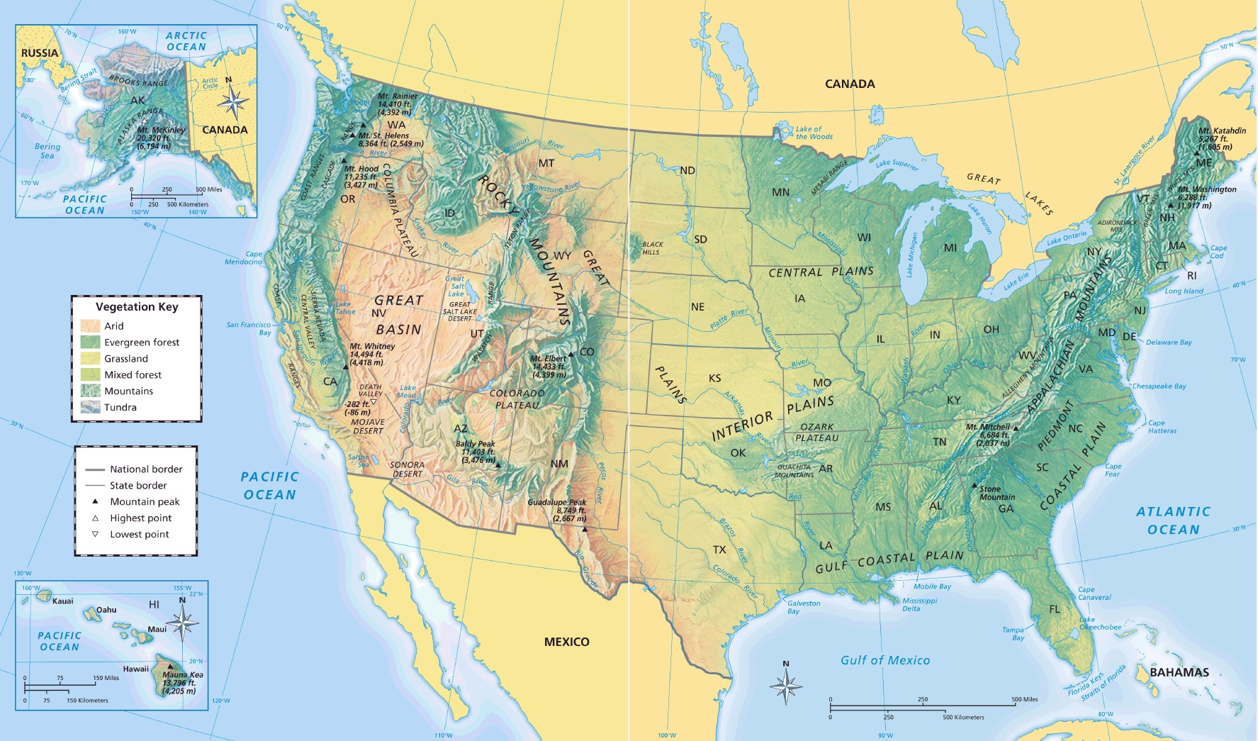 Us Map With Geographical Features