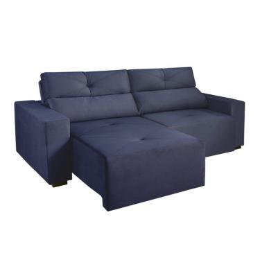 Sofá 4 Lugares Retrátil E Reclinável Bueno Veludo Azul