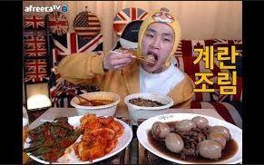 [韩国吃播][花猪]腌鸡蛋+小菜+炸酱面海鲜饭