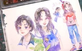 【水彩】小章的生贺图