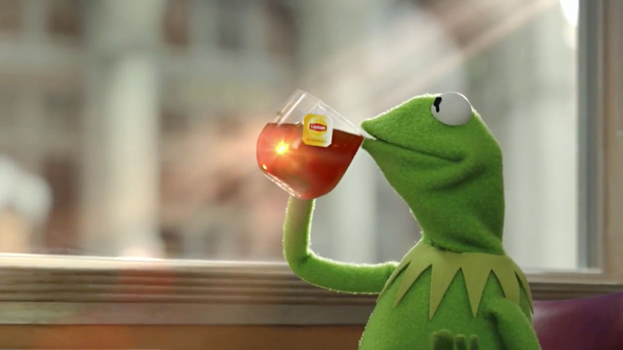 Image result for kermit sipping tea