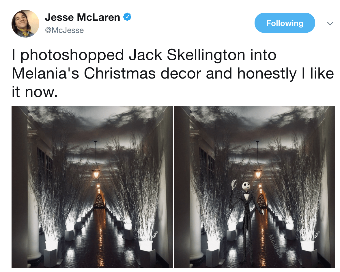 Jack Skellington Melania Trumps Christmas Decorations