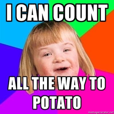 "Girl with Down's Syndrome saying ""I can count all the way to potato"""