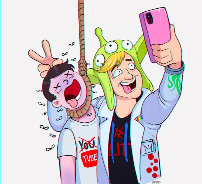 Image result for logan paul suicide cartoon