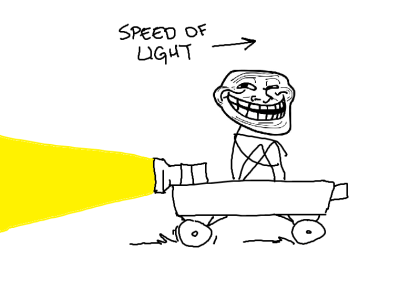 A meme showing a person traveling at the speed of light.
