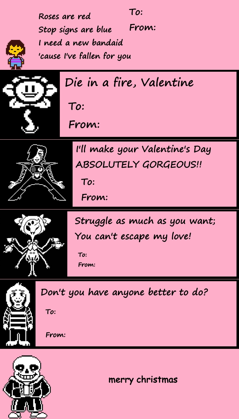 Undertale Valentines Day Cards Undertale Know Your Meme