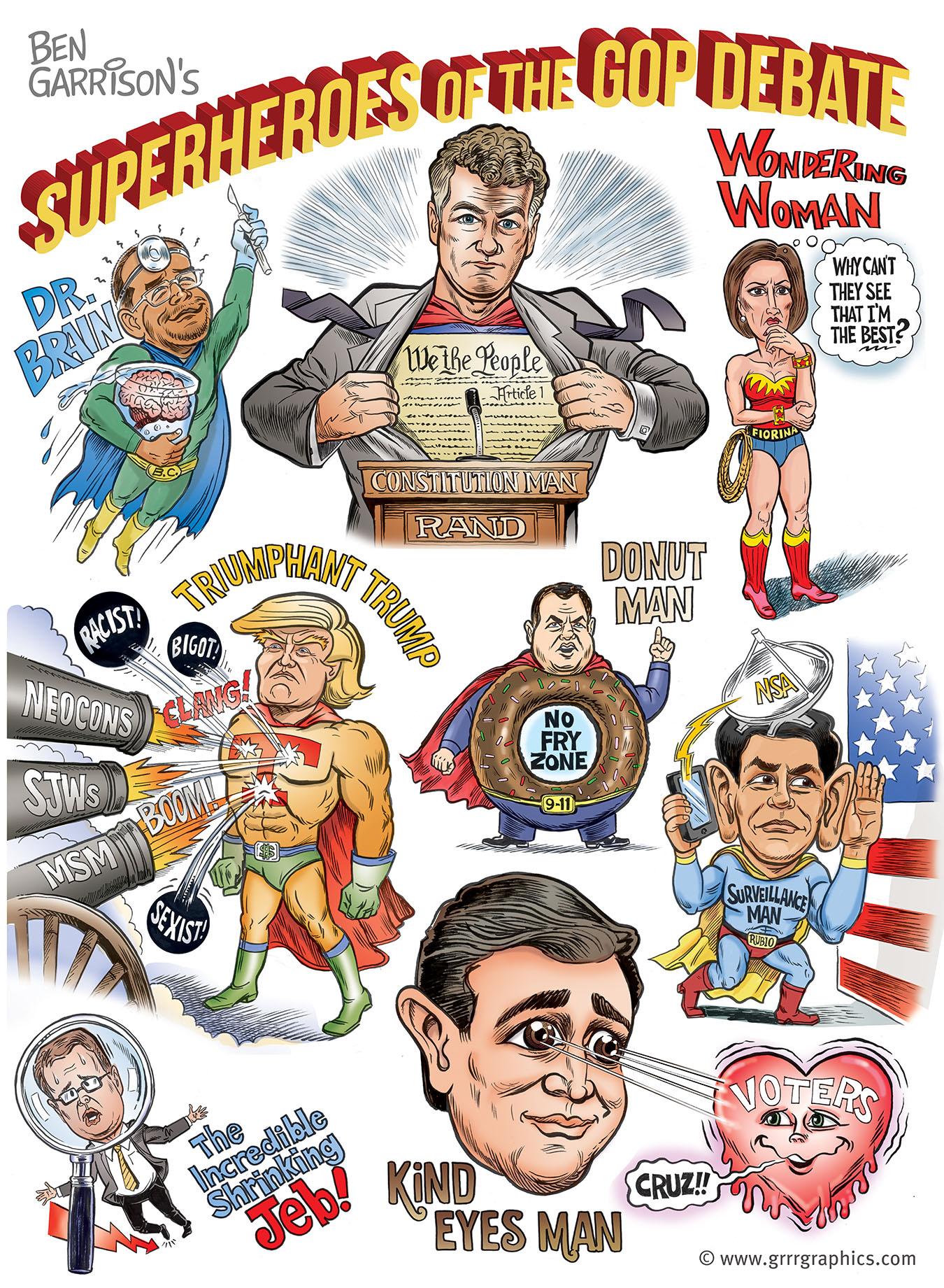 Ben Garrison Superheroes Of The GOP Debate Ben