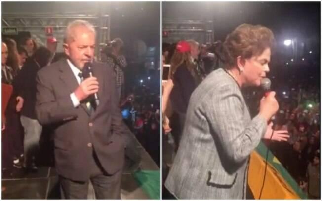 Os ex-presidentes Lula e Dilma fizeram discurso após depoimento ao juiz Sérgio Moro, em Curitiba