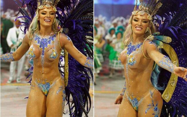 Juju Salimeni com o corpo pintado, e tapa-sexo, no desfile da Mancha de 2013. Foto: Claudio Augusto
