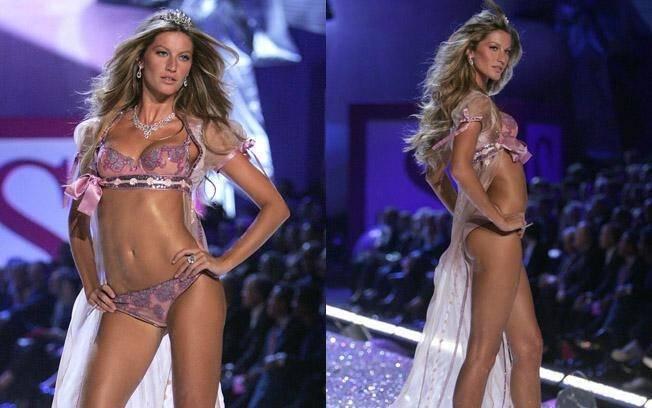 A cada ano ela aparecia mais gata nos desfile das deusas da Victoria's Secret. O da foto aconteceu em 2005 . Foto: Getty Images