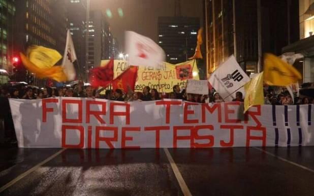Além da saída de Michel Temer, manifestantes pedem a suspensão das reformas trabalhista e da Previdência Social
