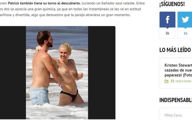 Ao lado do namorado, Patrick Schwarzenegger. Miley Cyrus faz topless no Havaí. Foto: Reprodução