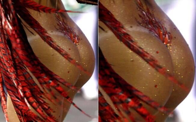 Juju Salimeni com o corpo pintado, e tapa-sexo, no desfile da Mancha de 2012. Foto: AgNews