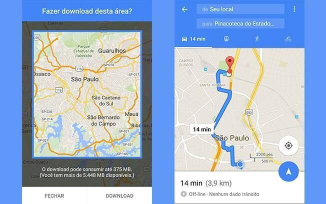 É possível salvar áreas inteiras na nova versão do Google Maps