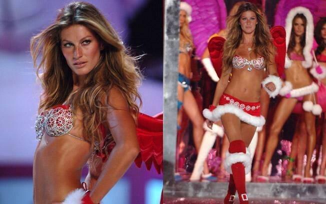 Por oito anos (2000 a 2007), Gisele foi a estrela dos desfiles da grife de lingerie Victoria's Secret. Num dos desfiles, ela aparece como a Mamãe Noel mais sexy da história. Foto: Getty Images