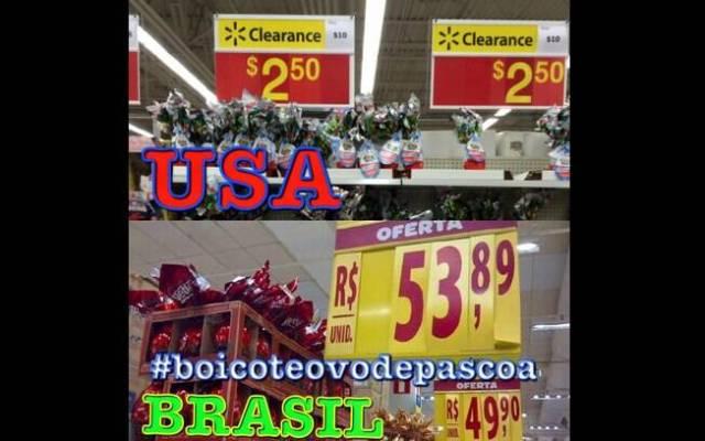 Esta outra montagem mostra os preços praticados por estabelecimentos americanos e brasileiros