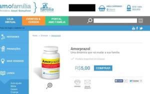 Reprodução da loja virtual do pastor Josué Gonçalves, onde o amorprazol é vendido a R$ 5 mais frete, que pode ser até o triplo do valor.. Foto: Divulgação