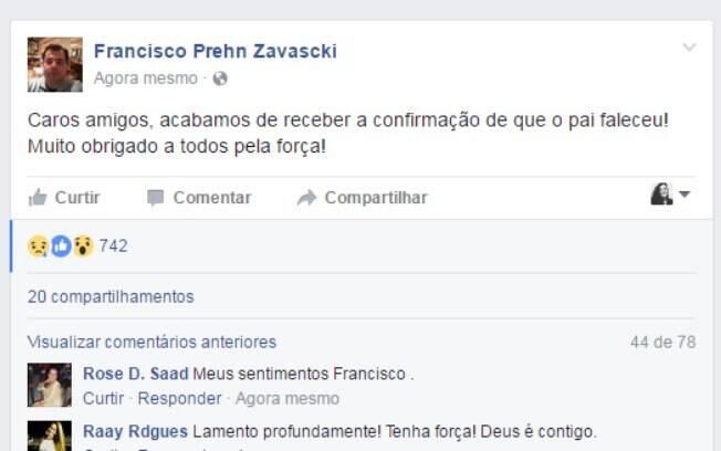 Filho do ministro confirma a morte de Zavascki pelo Facebook na tarde desta quinta-feira (19)