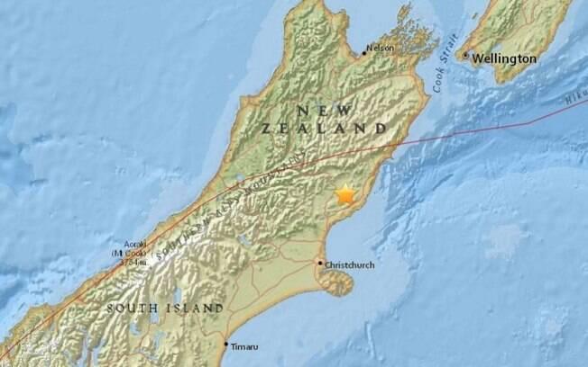 O tremor aconteceu a 91 quilômetros ao nordeste da cidade de Christchurch