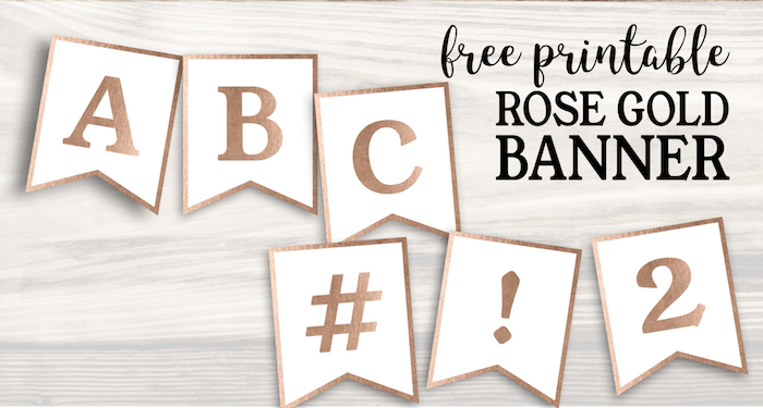 Free Printable Rose Gold Banner Template Paper Trail Design