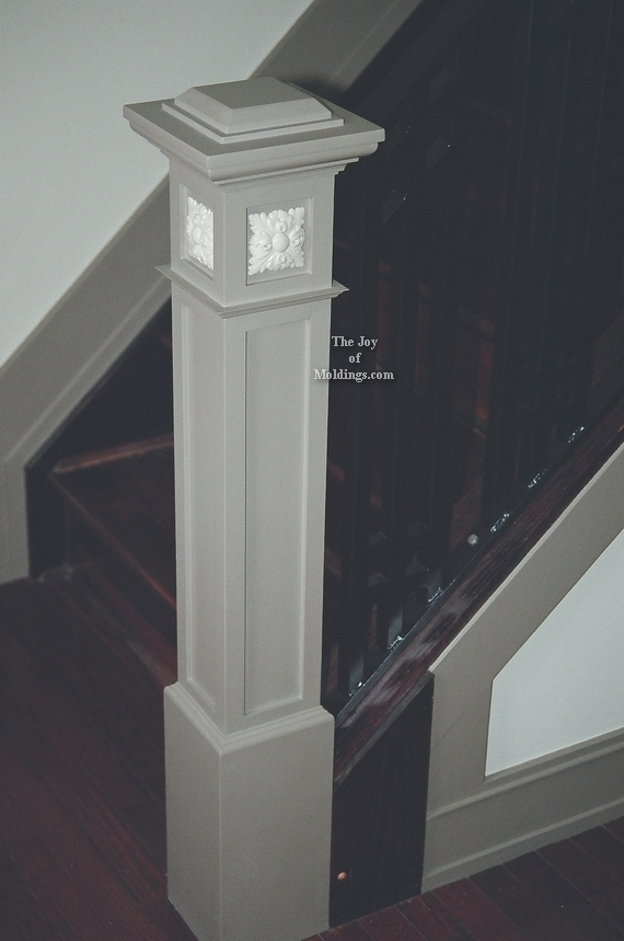 Newel Post 101 The Joy Of Moldings   Craftsman Style Newel Post   Shaker   Construction   Colonial Elegance   Antique   1930 Style