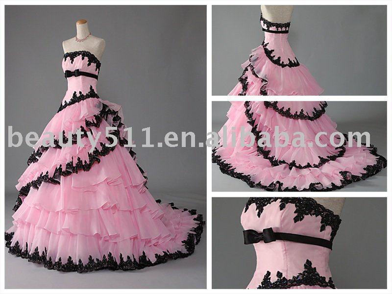 Layered Rosa Preto Rendas Arrastando Vestido De Noiva