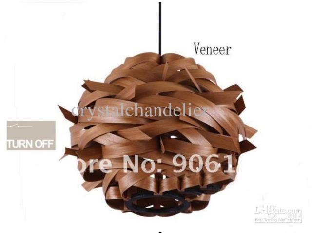 - New 1 Light pendant lighting fixture Wood Veneer Finished Light
