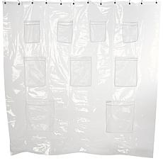concierge collection shower curtain liner with storage pockets