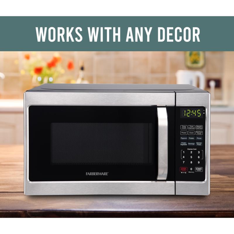 farberware classic 7 cu ft 700 watt microwave oven brushed stainless