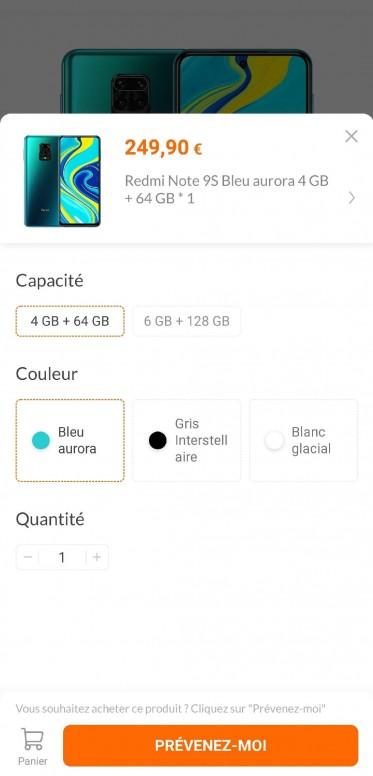Le Redmi Note 9S fait référencer sur le Mi Store Français