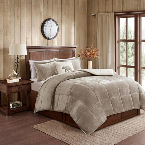woolrich alton 3 piece taupe ivory plush to sherpa twin comforter set