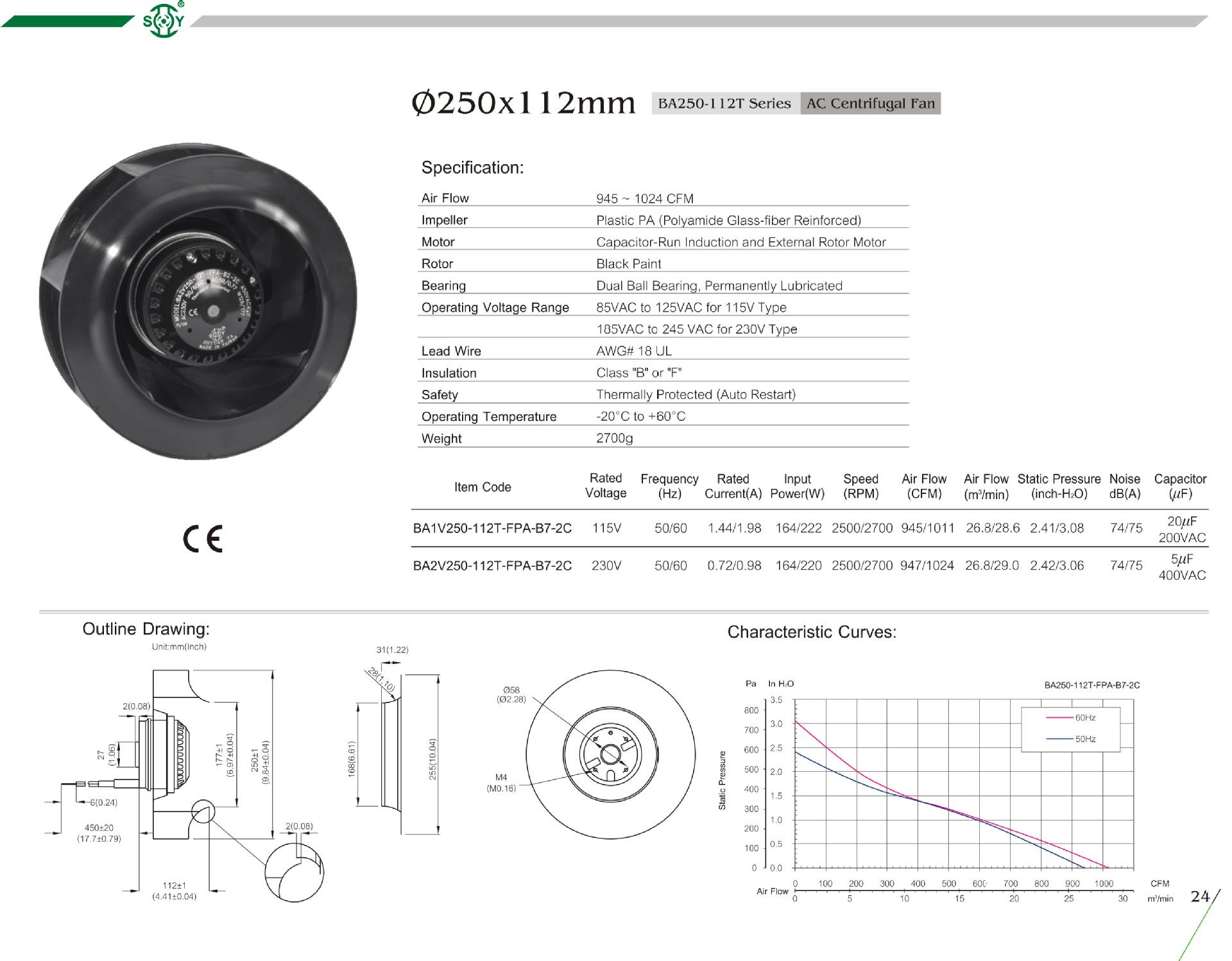 110v 220v 230v Air Conditioning Backward Curved Plastic