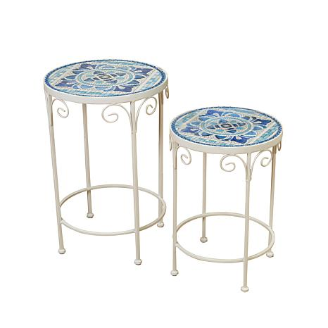 gerson company blue white ceramic mosaic tile accent tables 2 pack