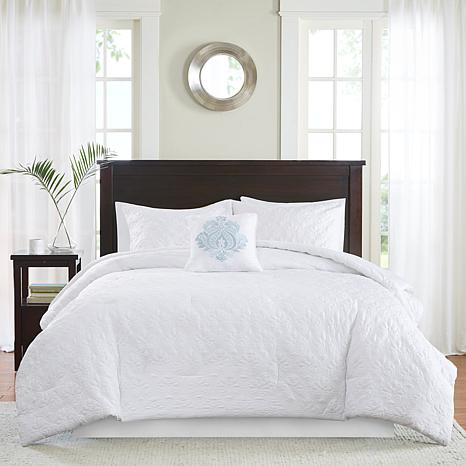 madison park quebec 5 piece white comforter set california king