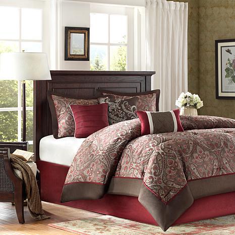madison park talbot jacquard 7 piece comforter set cal king red
