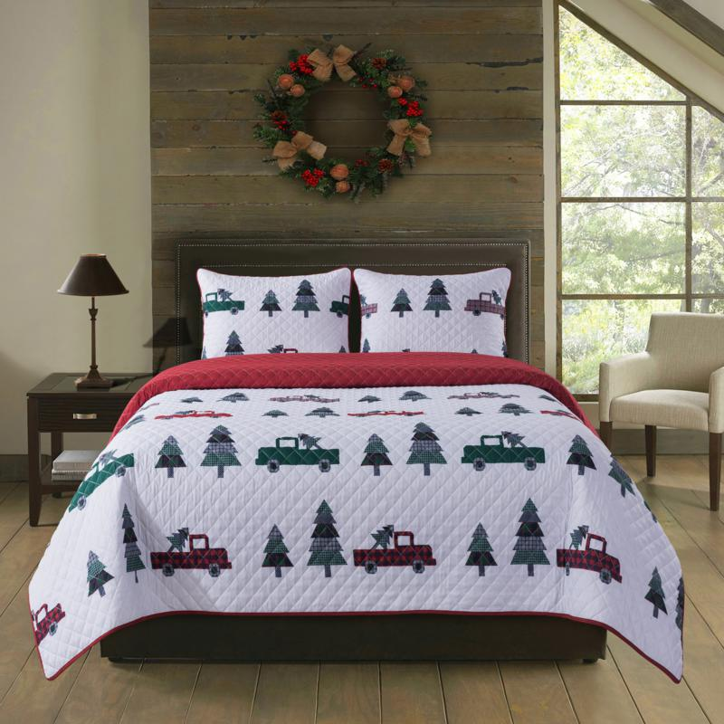 country living 2 piece holiday twin quilt set vintage truck