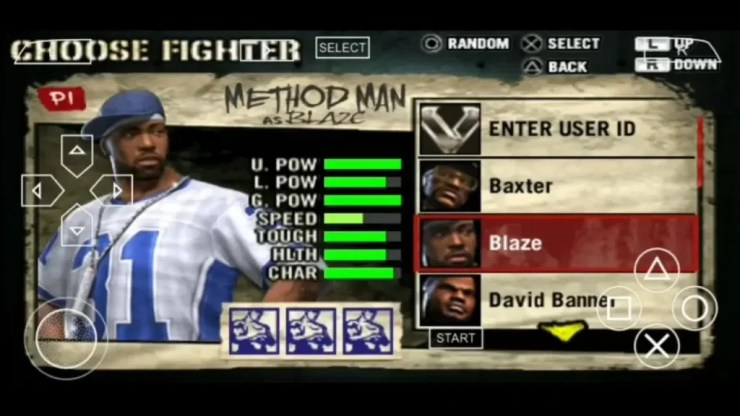Def Jam PSP Characters Selection