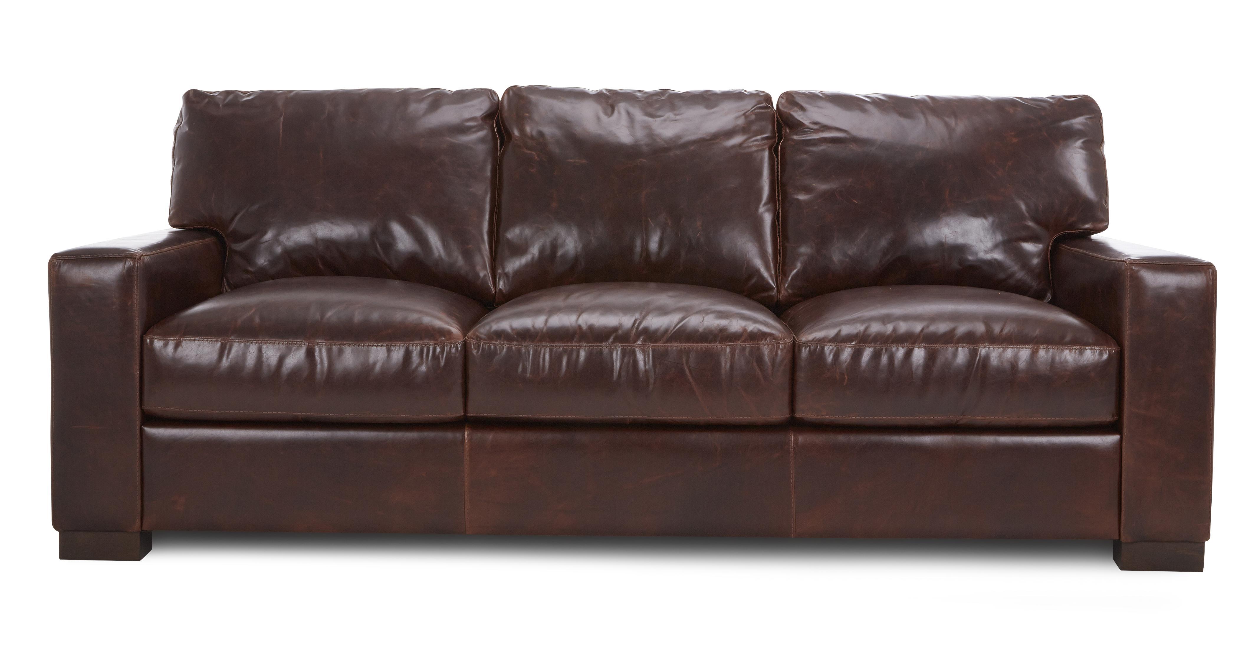 dfs brompton mahogany brown leather 3 seater sofa ebay