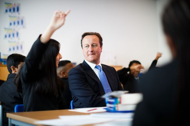 Prime minister David Cameron meets pupils at the opening of Perry Beeches III Free School in Birmingham in 2013