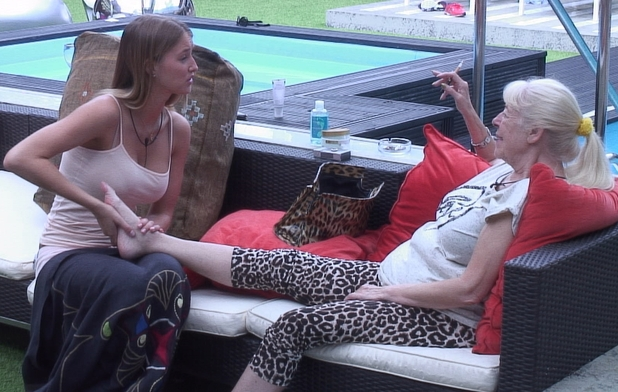 Julie Goodyear and Danica foot massage