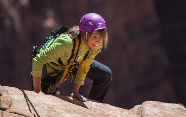 Alex Jones completes her Sport Relief challenge at Zion National Park in Utah