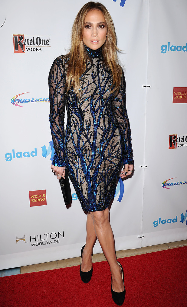 Jennifer Lopez attends the 25th annual GLAAD Media Awards at The Beverly Hilton Hotel