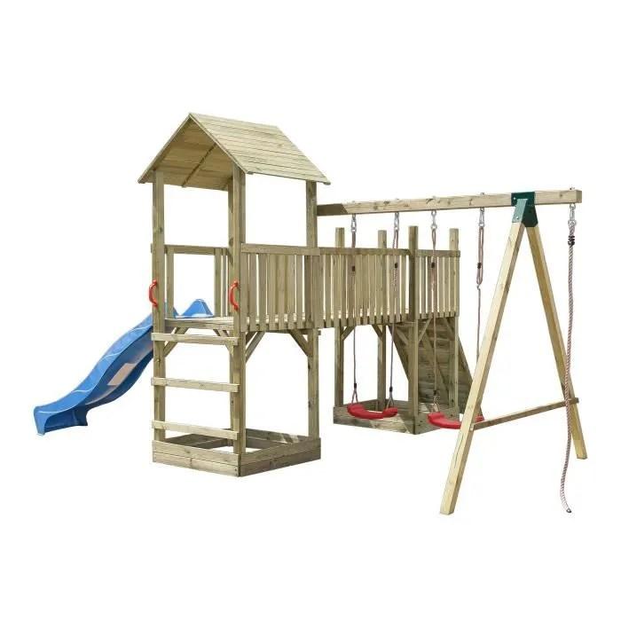 balancoire portique enfant aire de jeux complete en bois avec 2 balancoires 1 toboggan 1 mur d escalade 1 tour et 1 passerelle achat vente