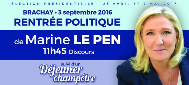 Rentrée politique de Marine Le Pen à Brachay
