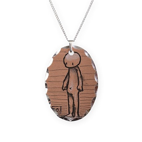 Standing guy Necklace Oval Charm