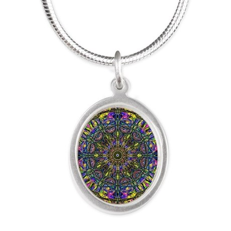 Mandala Silver Oval Necklace