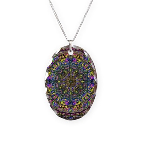 Mandala Necklace Oval Charm