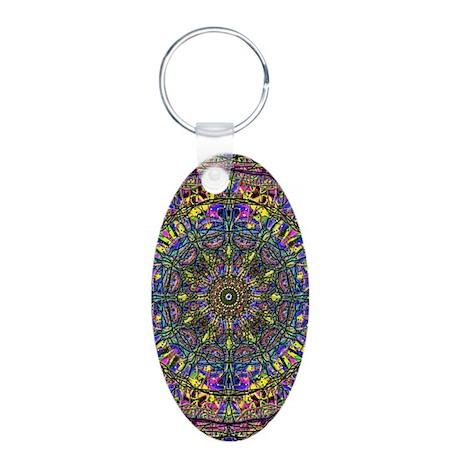 Mandala Aluminum Oval Keychain